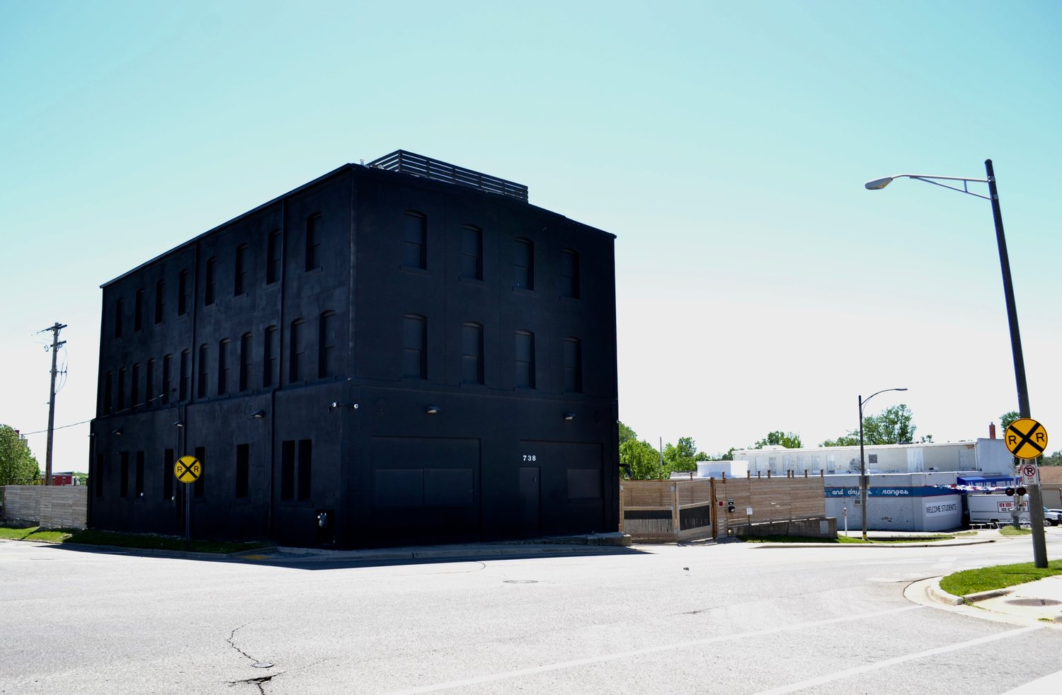 A soon-to-be marijuana growing facility has caught attention due to its striking all black paint job.