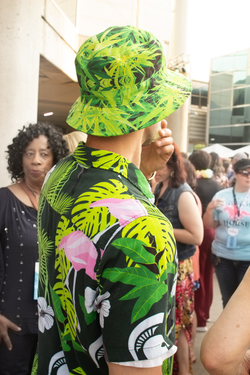 One festival-goer introduced cannabis leaves to the mix of tropical prints.
