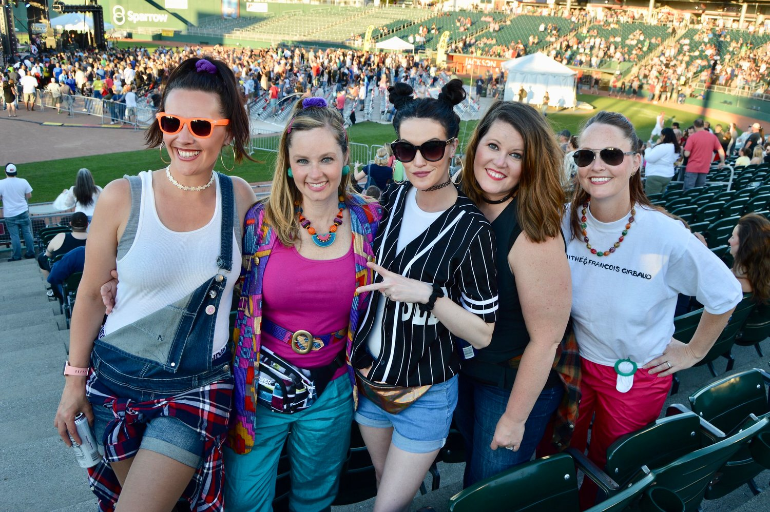 "Lindsay Fast (left), Jennifer Croteau, Courtney Mills, Chelsay Shepard and Stephanie Croteau. Jennifer said, ""My outfit inspiration came from the TV show, Schooled. I was inspired by Beverly Goldberg. The '90s really was the best decade to me, because we didn't have as many distractions like cell phones; we would actually play together, have social interaction and it was carefree."""
