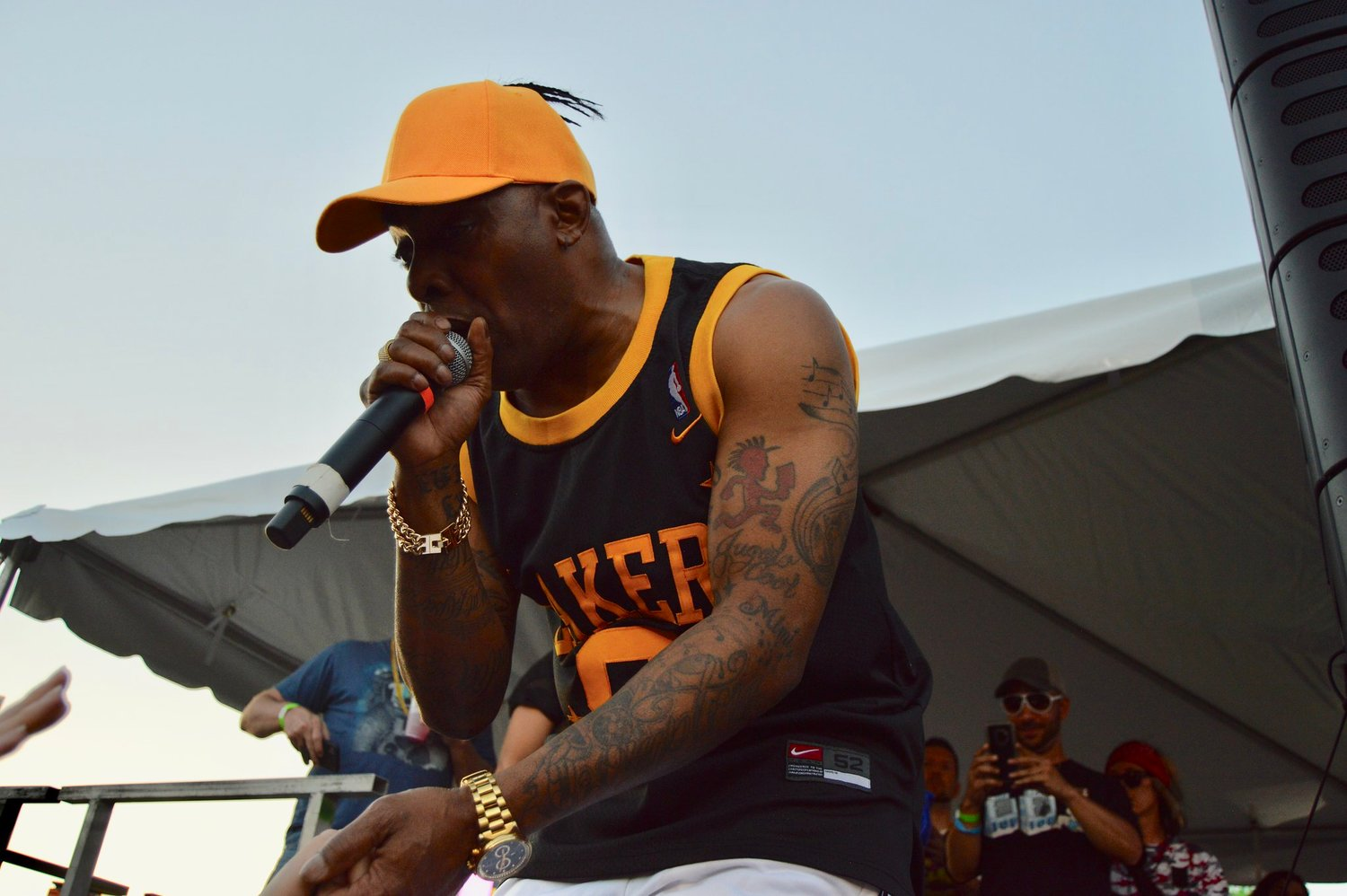 Coolio greeting fans during his performance Friday.