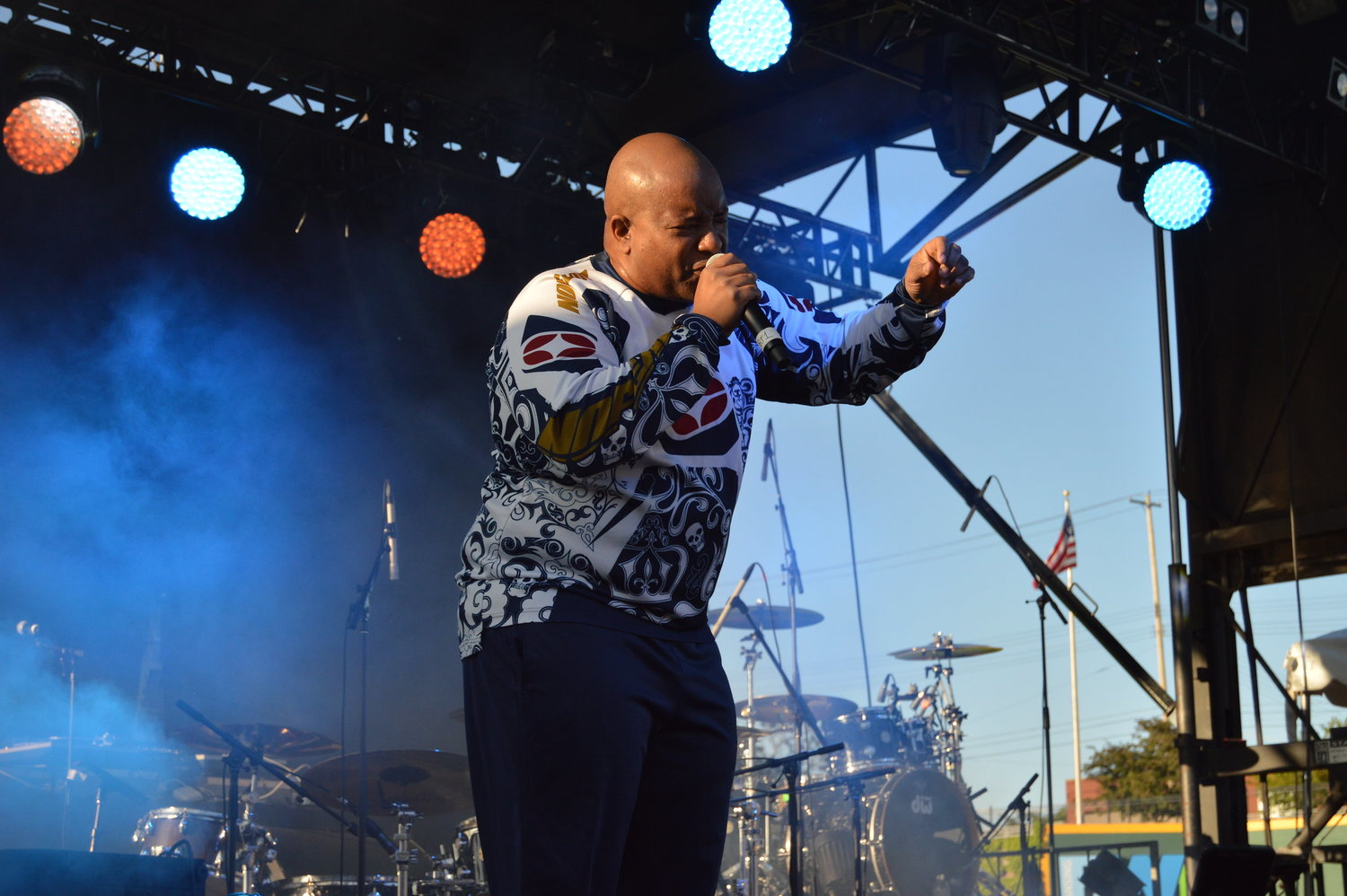 "Young MC performing his Grammy-award winning single ""Bust a Move."""