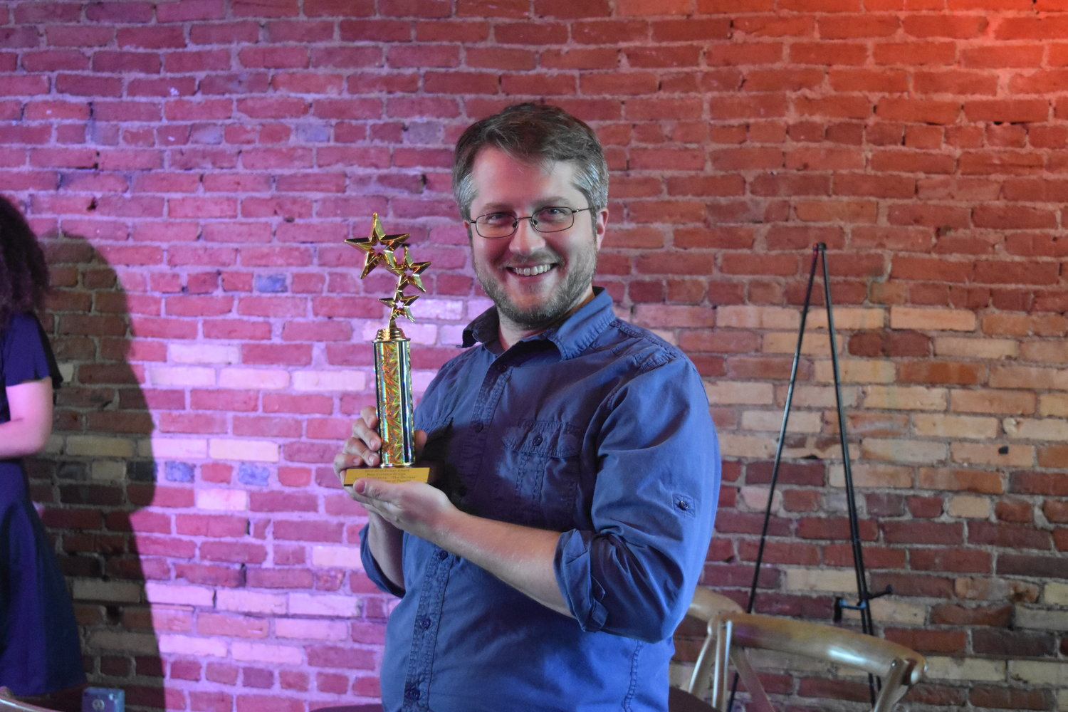 Brian DeVries accepted seven awards on behalf of MSU's Department of Theatre.
