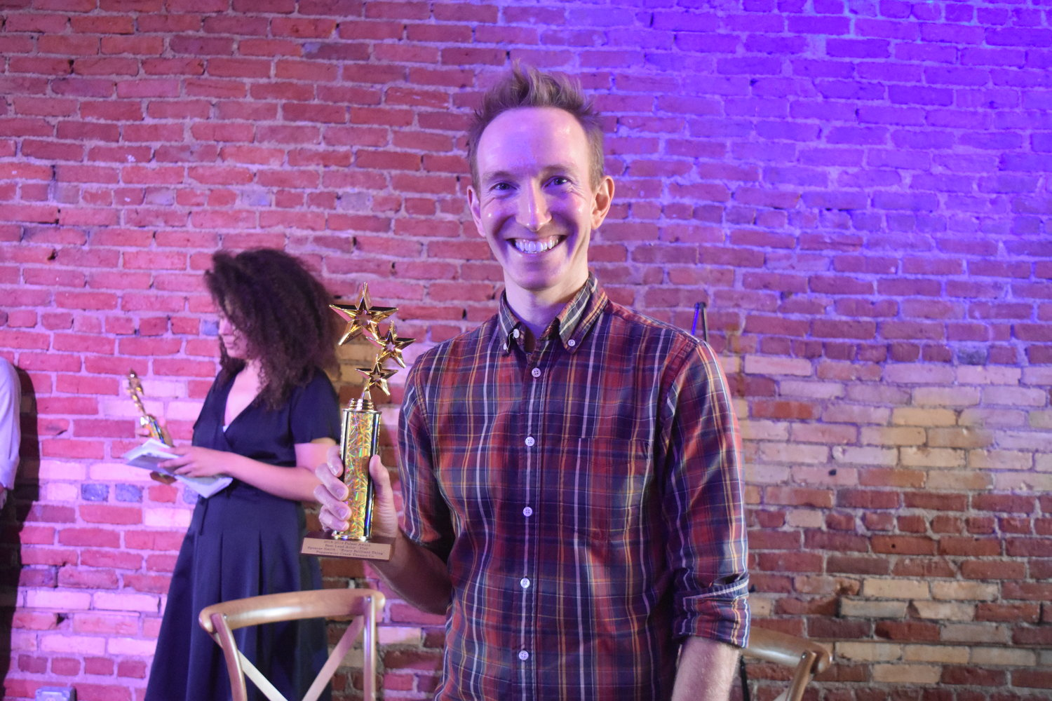 Chad Swan-Badgero accepted the award for Best Lead Actor in a Play for Spencer Smith.