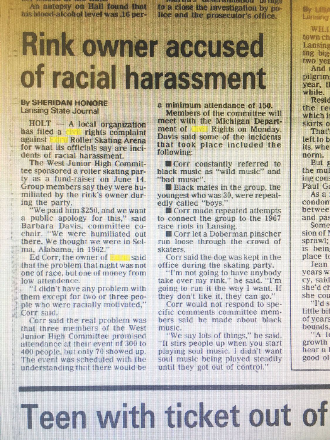 A Lansing State Journal article June 20, 1990, reporting an incident between Edru's owner and African-American customers.