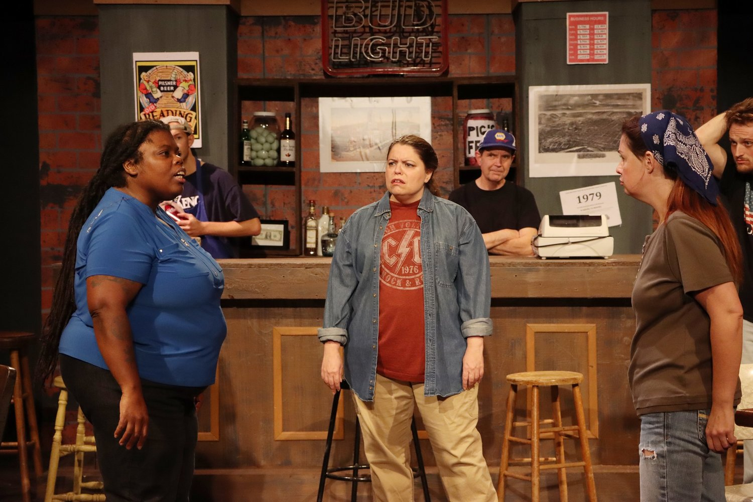 "(Left to right) Connor Kelly, Scott Pohl, Madeline Nash, Edward Heldt, Rose Jangmi Cooper, and Lekeathon Wilson in ""Sweat."""