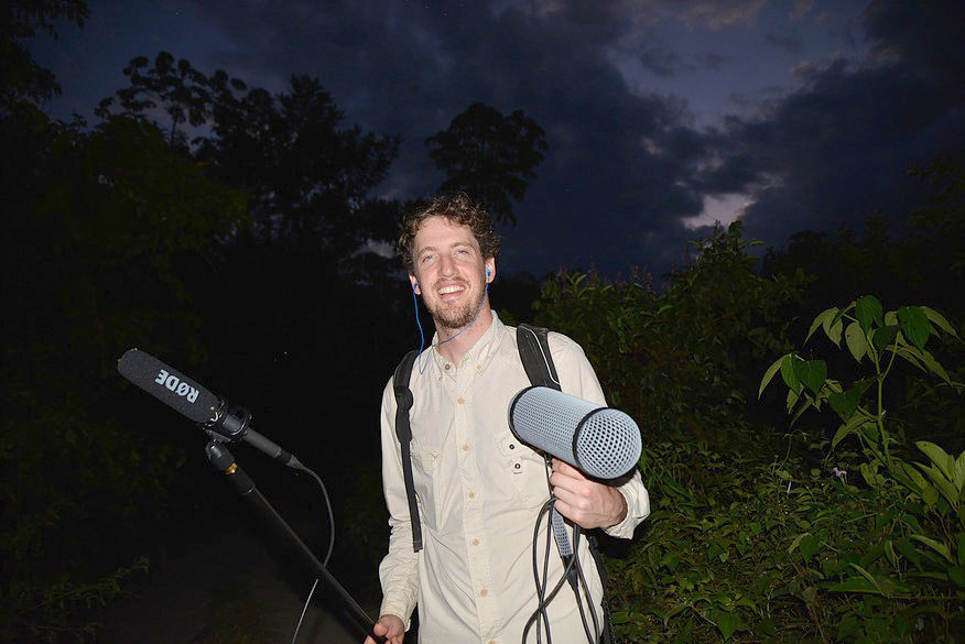 Patrick Harlin, the Lansing Symphony Orchestra's first composer-in-residence, studies and records the night sounds of the Amazon rain forest.