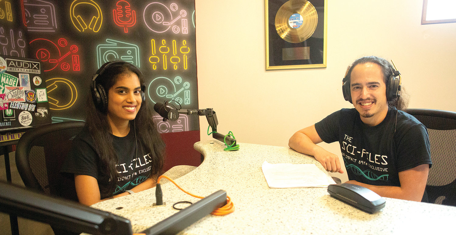 Chelsie Boodoo (left) and Daniel Puentes (right) are graduate students at MSU, as well as the co-founders of  a student organization, SciComm, and Sci-Files, a weekly science podcast on 88.9 FM.