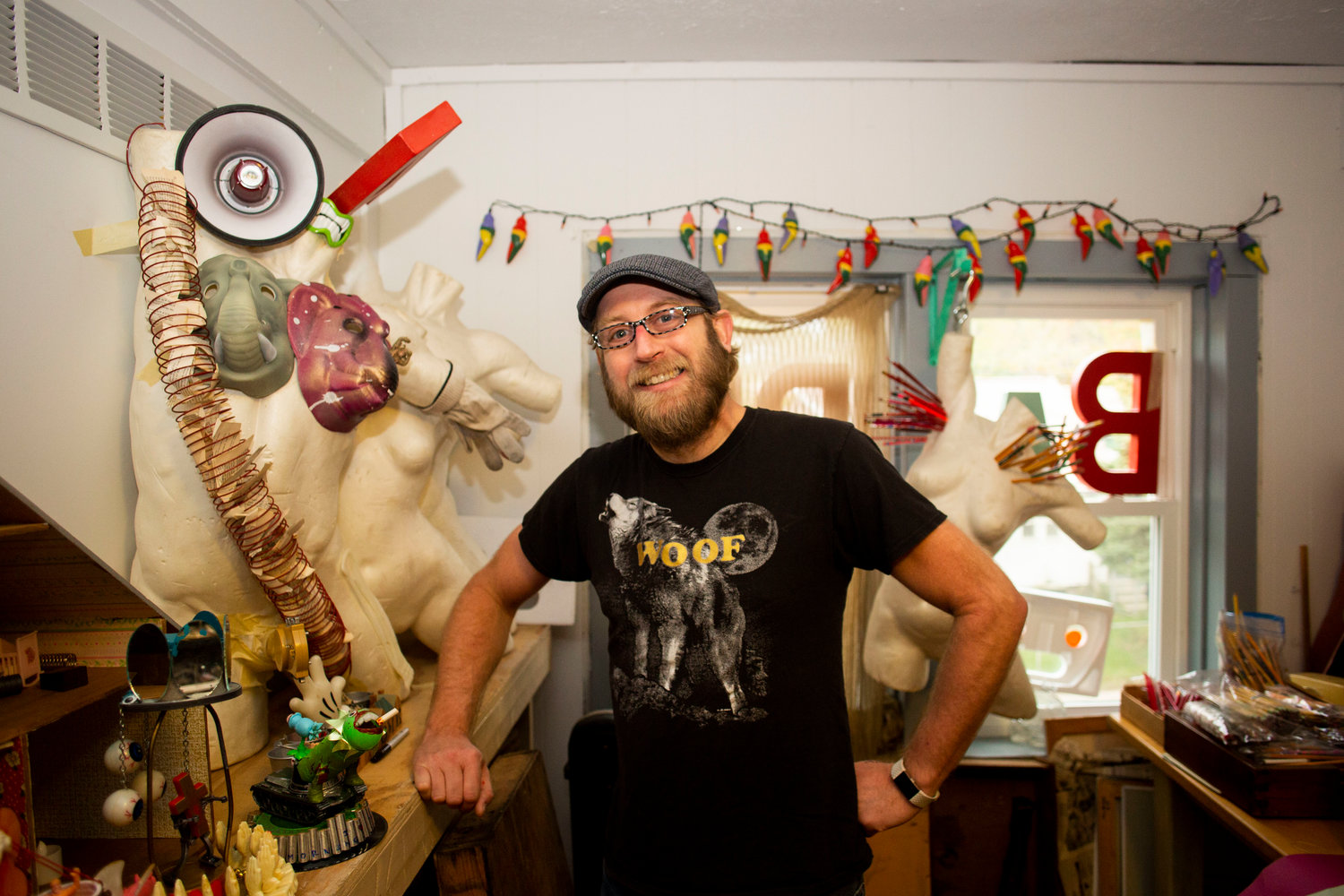 Todd Parkhill joined the Cedar Street Art Collective in 2017. He uses the space to store eccentric trinkets he collects while thrifting, he later turns into sculptures or multimedia paintings.