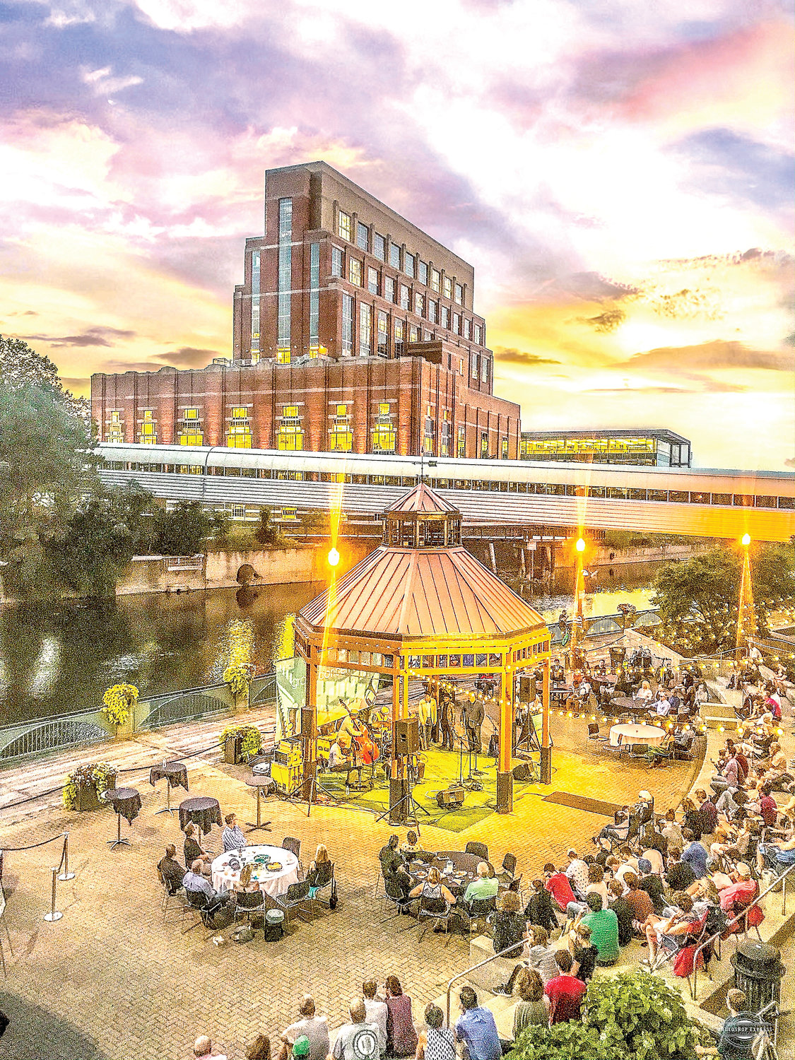 Lansing's downtown riverfront came alive Sept. 10 with a big slate of events, including a concert by the MSU Professors of Jazz at the convention center pavilion (pictured) and the opening of Rotary Park a few hundred feet upstream.