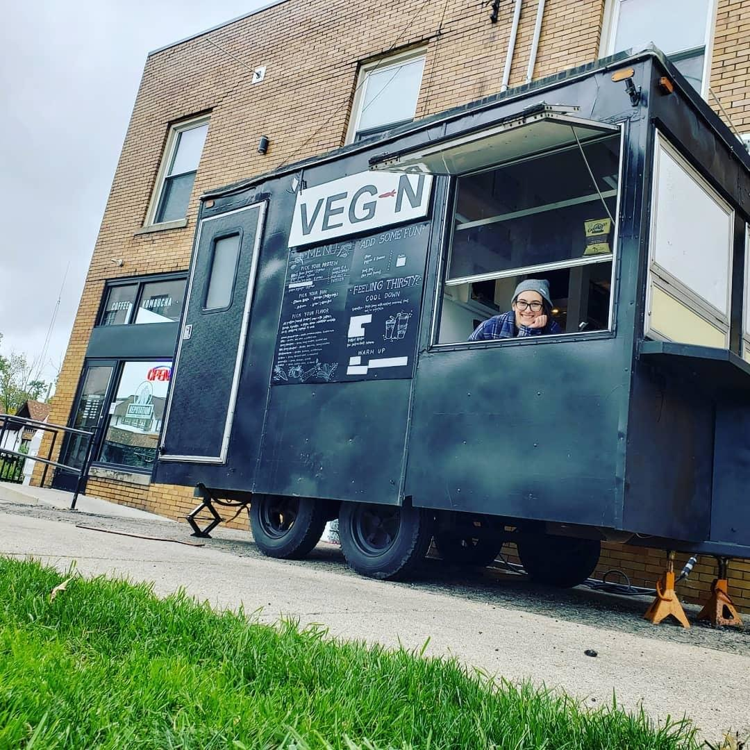 Veg-N co-founder Christabelle Dozeman serves vegan sandwiches at Reputation Beverage Co.