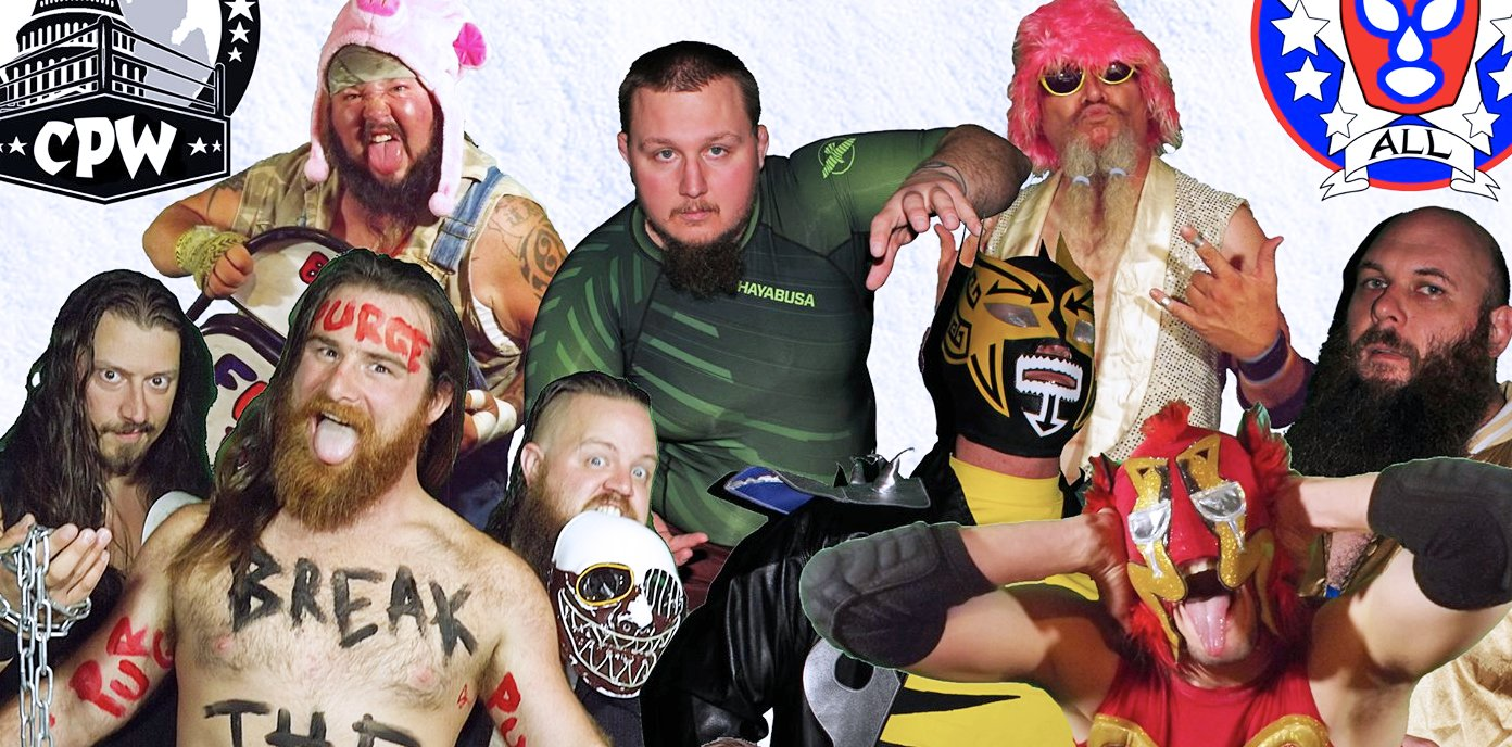 The wrestlers of Capital Pro Wrestling. Top row (left to right): Big Chuck Wagon, C.J. Otis and Mr. Main Event. Bottom row (left to right): Sean Tyler, Kevin Kalloway, Justin Pilgrim, The Mysterious Movado, El Ridiculoso and Georg Mack.