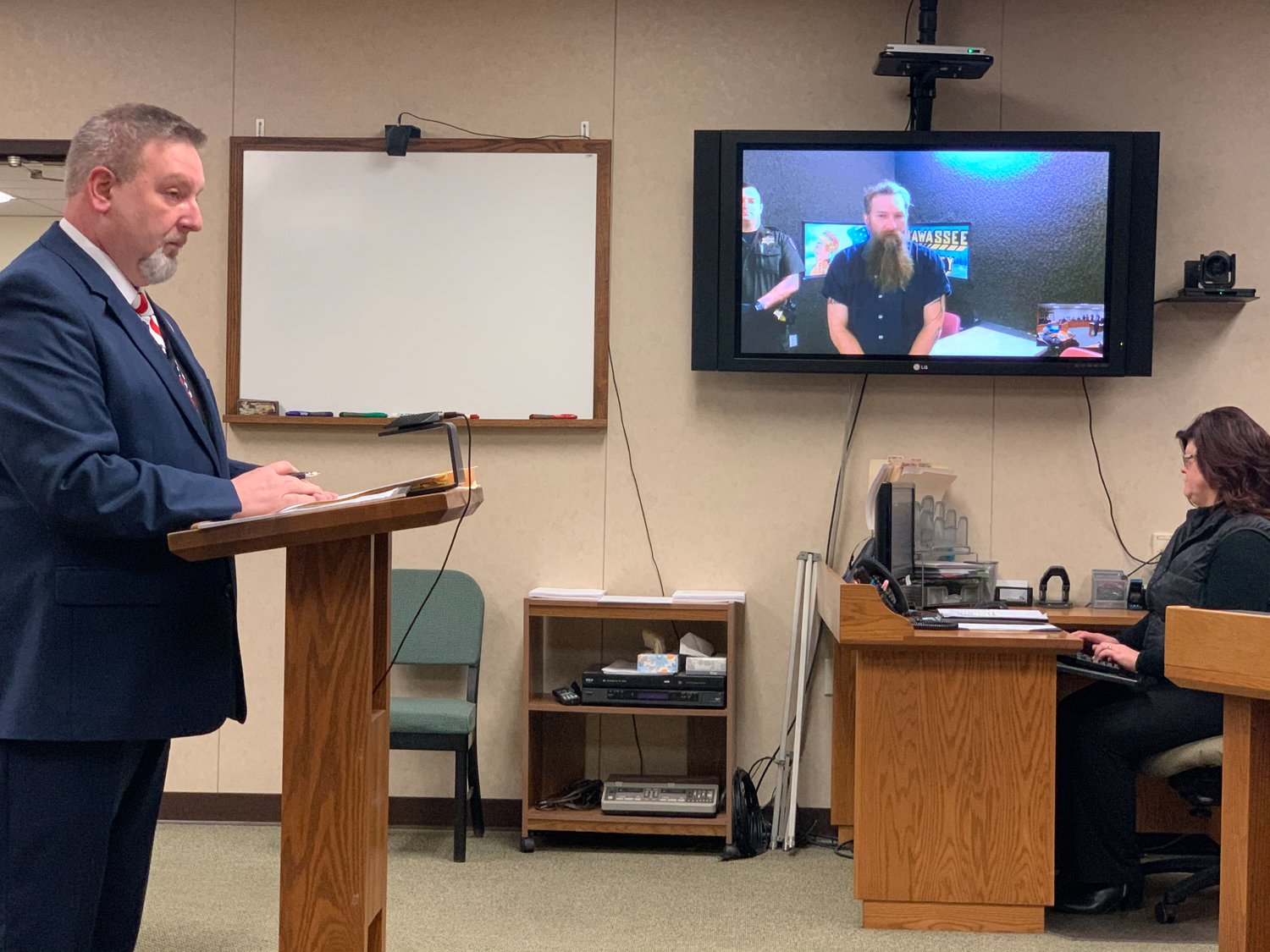 Mark David Latunski, 50, of Morrice, appeared via video feed for a hearing on Tuesday in 66th District Court.