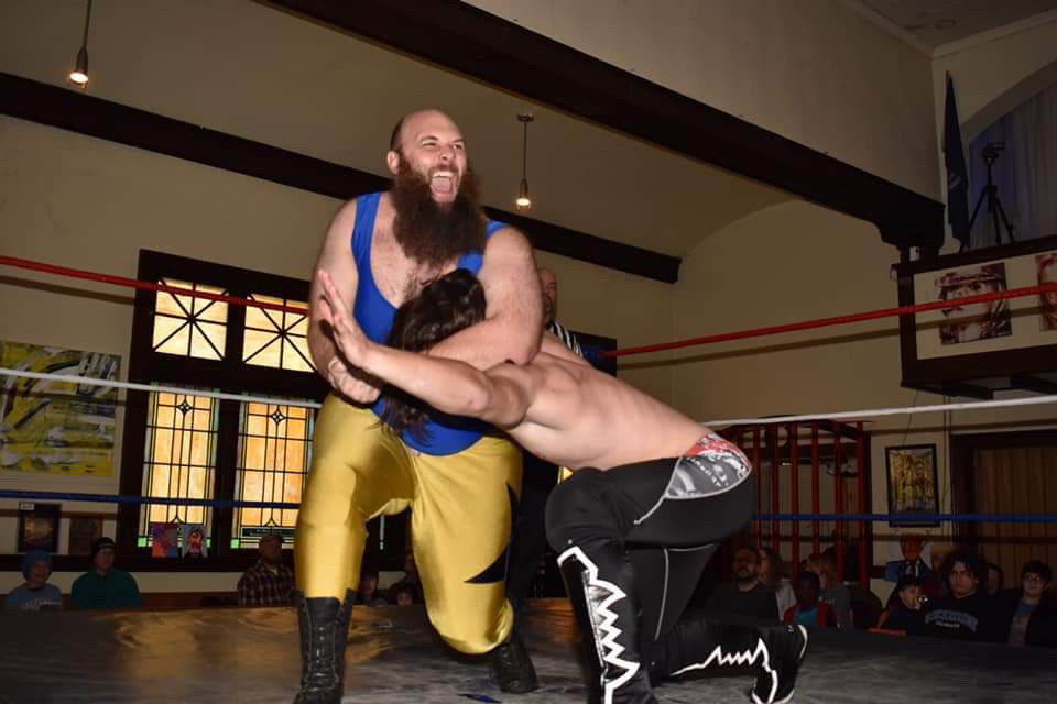 Georg Mack applies a headlock to Tanner Nix at a past Capital Pro Wrestling event.