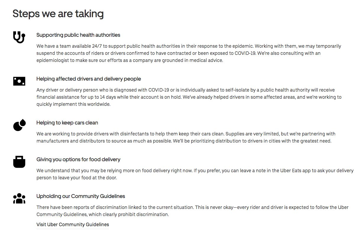 Coronavirus policies listed on Uber's website. Uber is the parent company of food delivery service Uber Eats.