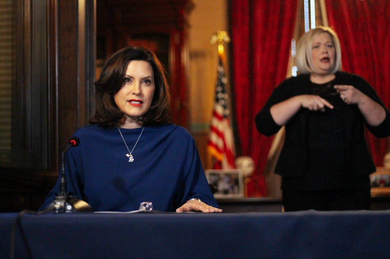 Gov. Gretchen Whitmer speaks from the State Capitol on Monday morning.