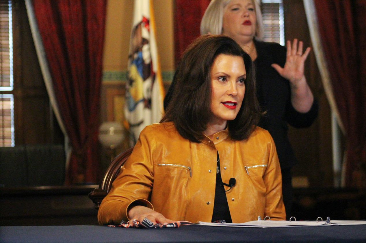 Gov. Gretchen Whitmer speaks at a press conference.