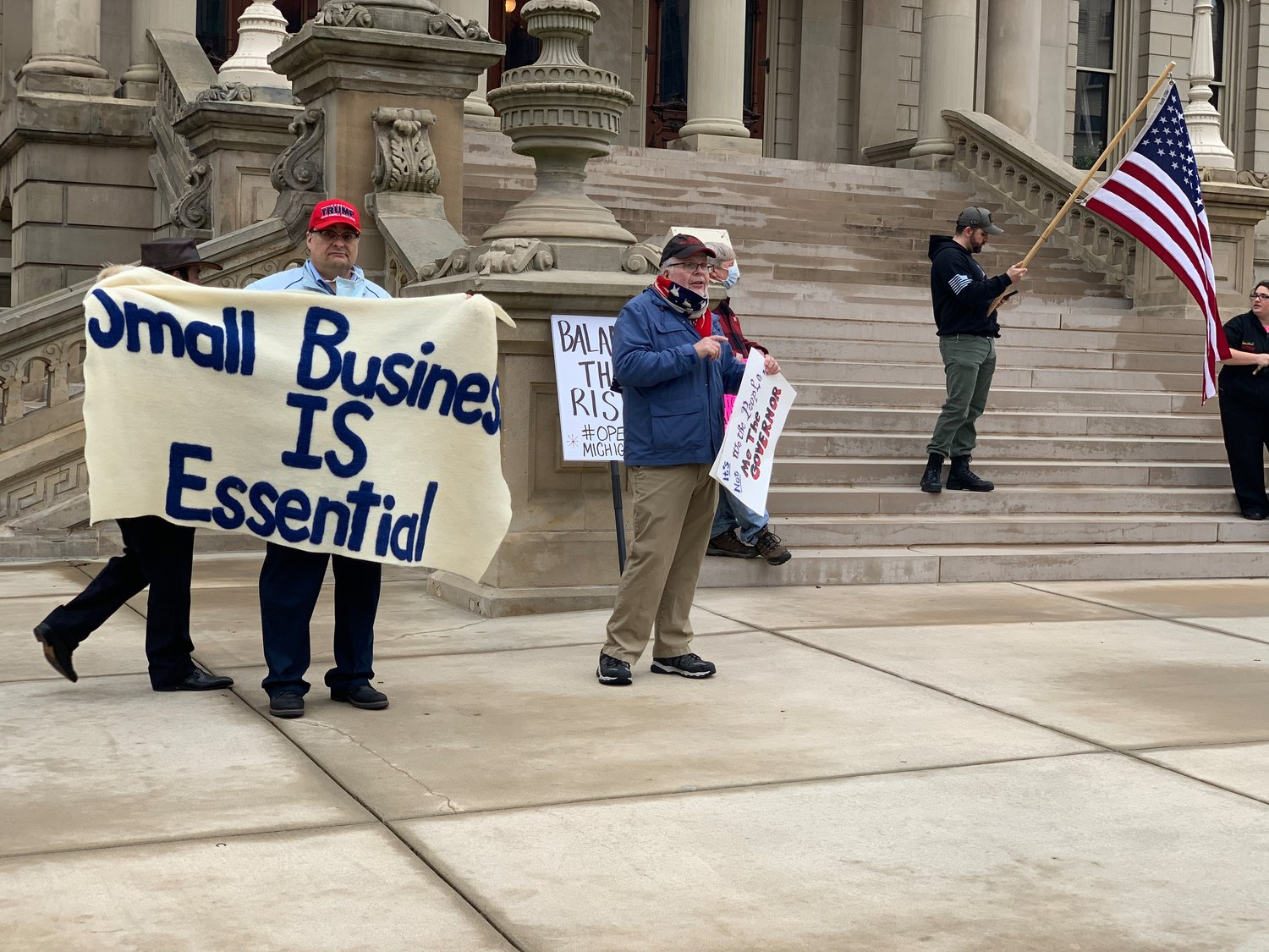 A small protest formed at the State Capitol on Tuesday morning.