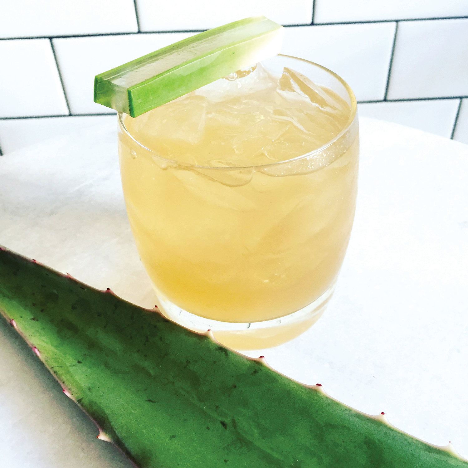 A tequila-based cocktail made with agave, aloe and tamarind.