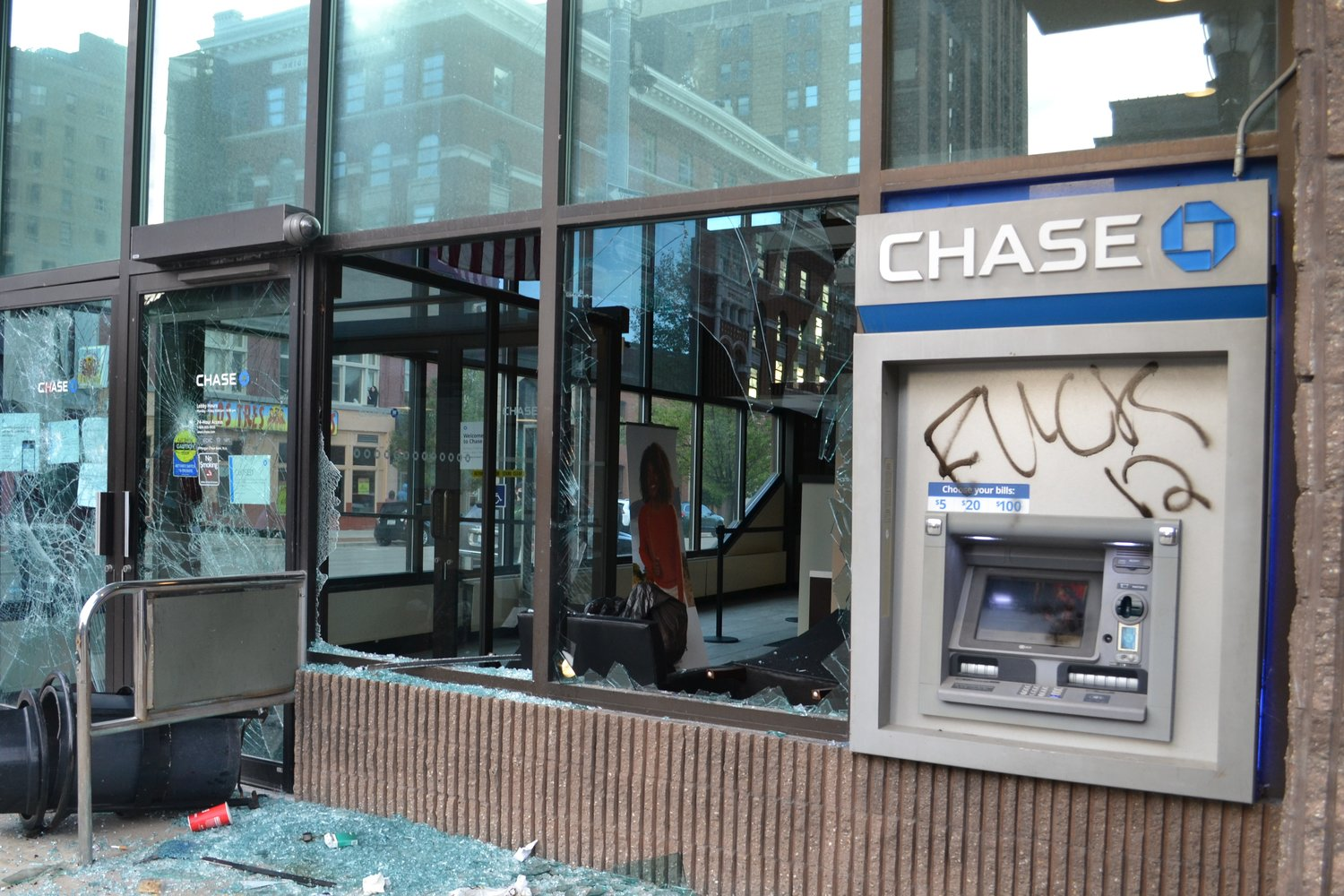 Chase Bank on Washington Square vandalized.