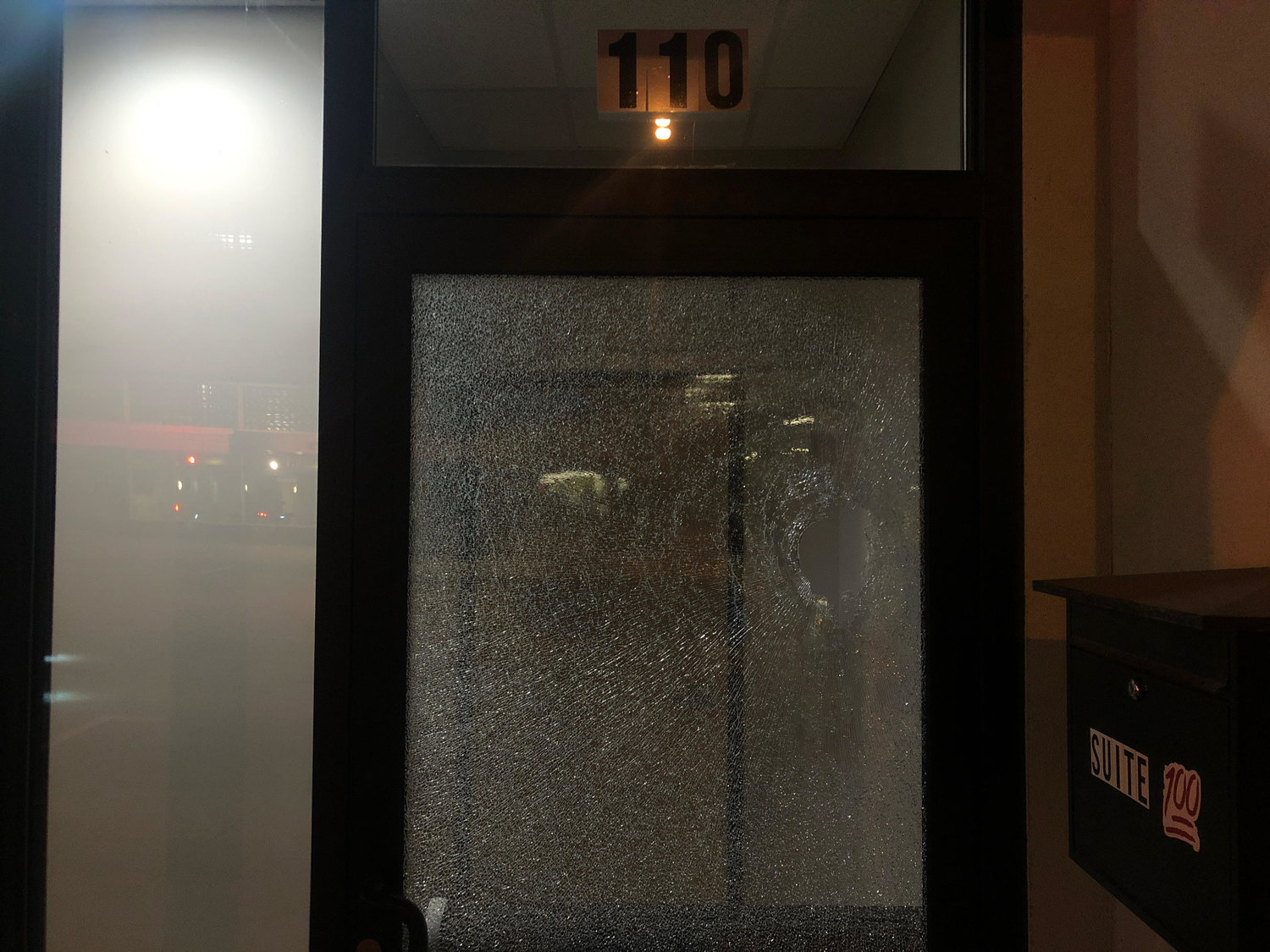 Smashed glass at 110 Washtenaw Street.