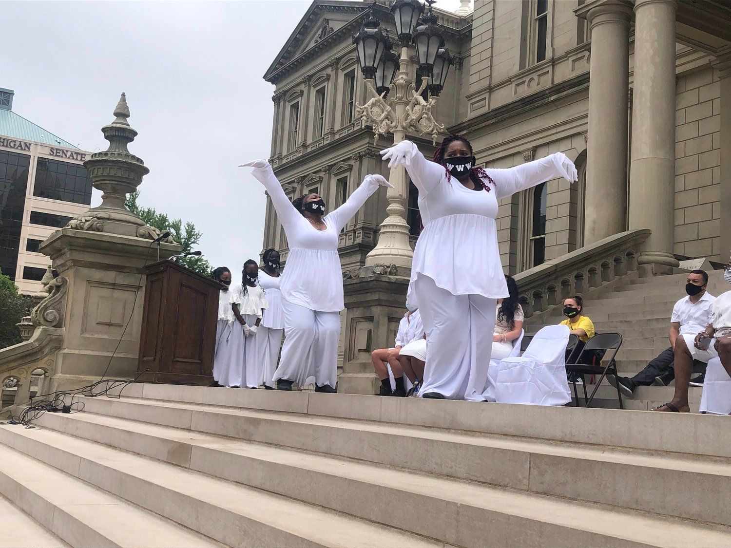 "The dance group Worship Without Words performs a ""spiritual praise dance"" on the Capitol steps."