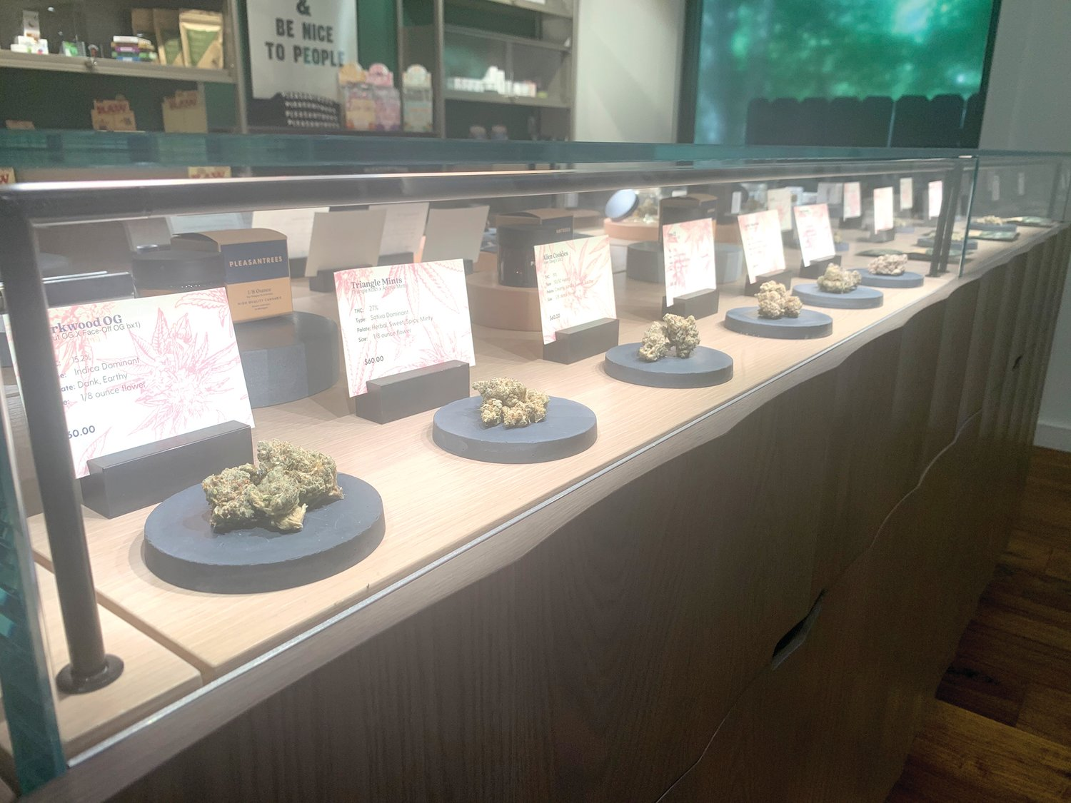 A selection of buds available for sale at Pleasantrees.