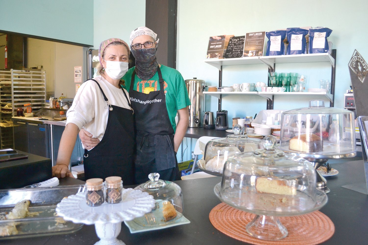 Burcay (left) and Aybars Gunguler, owners of Social Sloth Cafe & Bakery, which has received a lot of support through social media campaigns such as 