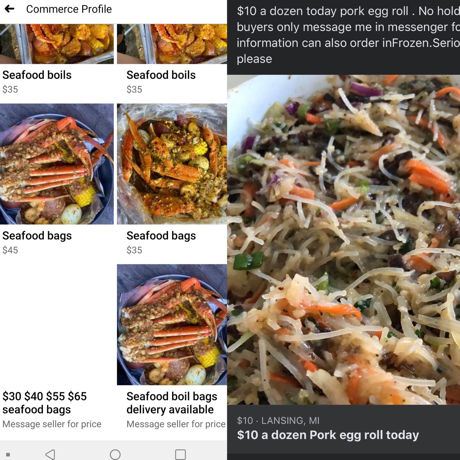 Online Facebook advertisements for homemade carryout are a common sight in Greater Lansing.