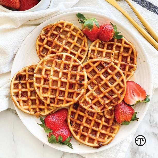 Add a sweet bit of nutrition to your breakfast with California strawberry waffles.