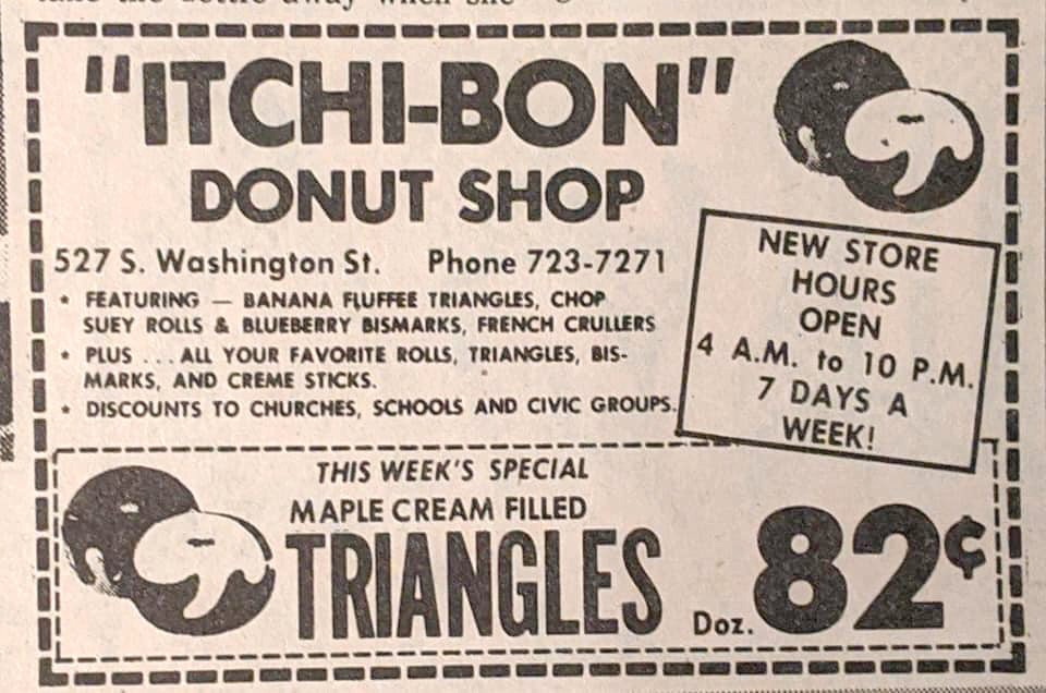 A print ad for Itchi-Bon Donut Shop in Owosso, the 