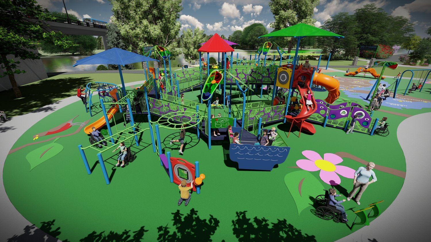 "A ""universally accessible"" riverfront playground is planned for Adado Riverfront Park on the west bank of the Grand River, with work beginning in the fall."
