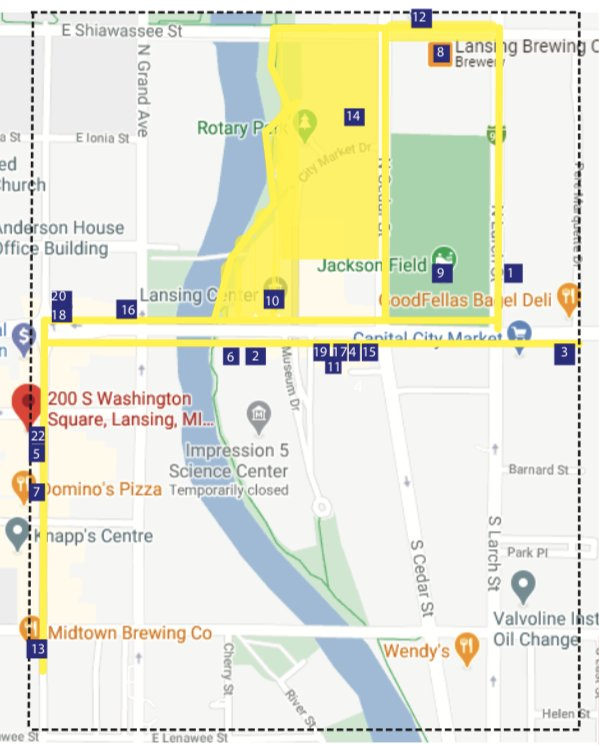 The downtown district spans along the south side of Washington Square to Midtown Brewing Company and west down E. Michigan Avenue past the Capital City Market, including all of Rotary Park and the Lansing River Trail north to Shiawassee Street.