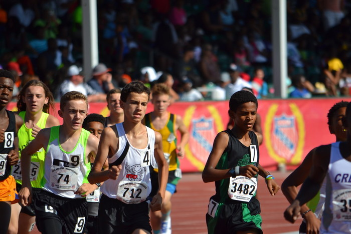 Pedro Bravo, wearing No. 712, won the National AAU Club Championship in the boys 14-year-old division's 3,000-meter run at the meet held in Orlando, Fla., July 10-16. Bravo, representing CYO New York and Iona Prep Lower School in New Rochelle, was second in the 1,500.