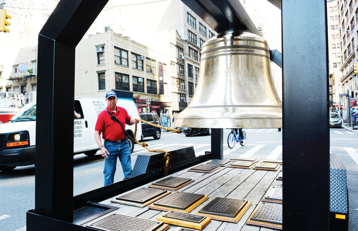 A Bell of Remembrance was part of the annual Father Mychal Judge Walk of Remembrance in Manhattan Sept. 10. Participants stopped at fire stations and police precincts where the bell was rung to remember the heroes and victims of 9/11. The Bells of Remembrance Project dates back to 1895 when bells were refurbished that were once hung from church steeples.