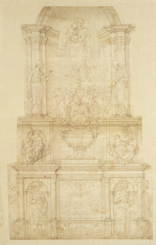 Design for the Tomb of Pope Julius II della Rovere Drawing, 1505-1506, by Michelangelo, is shown in pen and brown ink, brush and brown wash, over stylus ruling and leadpoint.
