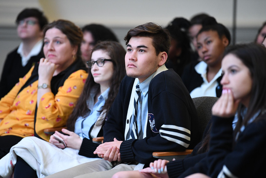 students from John S. Burke Catholic High School in Goshen listen to the panel during the second annual Catholic Leadership Conference at the Sheen Center for Thought & Culture in lower Manhattan March 5.