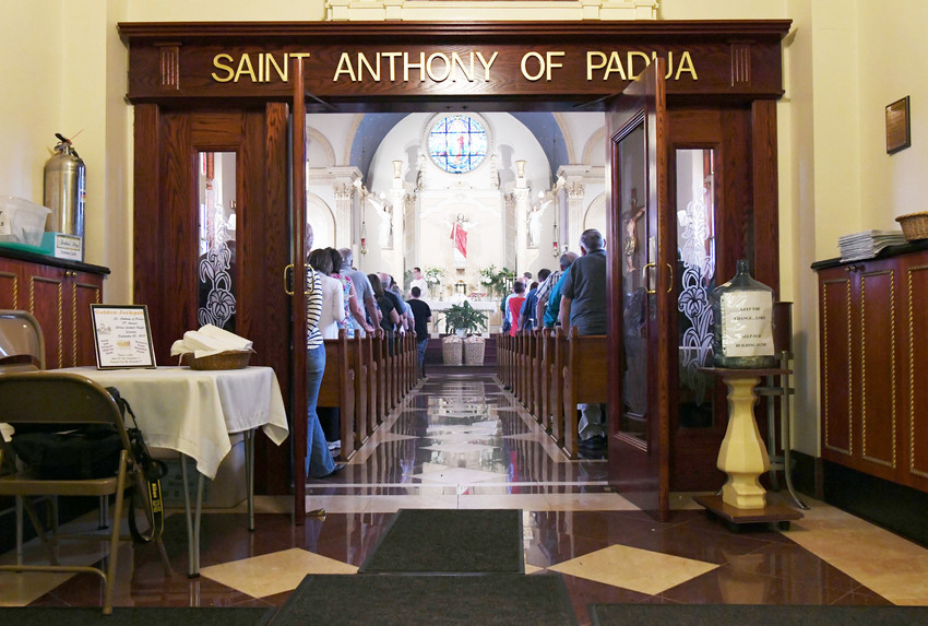 A view from the vestibule of the June 10 Mass at St. Anthony of Padua Church on Staten Island.