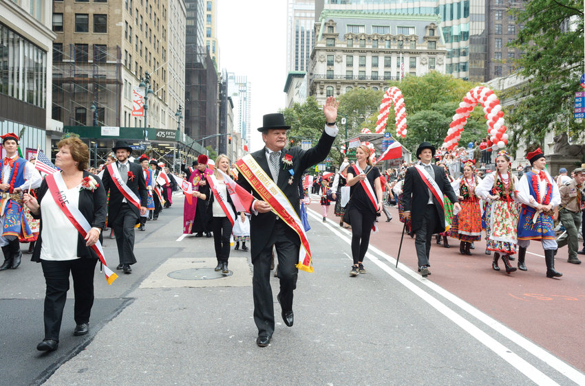Grand marshal Thomas Duch, an attorney and city manager of Garfield, N.J., leads marchers up Fifth Avenue in Manhattan during the Pulaski Day Parade Oct. 7. The parade celebrated the centennial of Poland's restoration to independence at the conclusion of World War I.