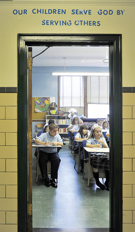 LEARNING—Students pay attention at Our Lady of the Assumption School in the Pelham Bay section of the Bronx, which recently was declared a Blue Ribbon School of Excellence by the U.S. Department of Education.