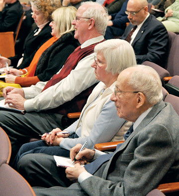 NOTEWORTHY ENDEAVOR­—Parish representatives pay close attention during vicariate information session held Jan. 20 at St. Joseph's Seminary in Dunwoodie