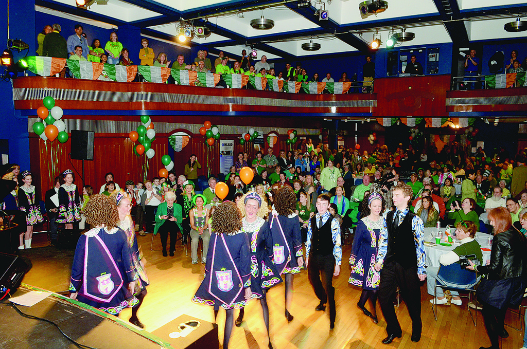 STEPPING OUT—The Doyle Academy of Irish Dance of Oxford, England, perform for party-goers at the Sober St. Patrick's Day soiree in the auditorium of Regis High School in Manhattan.