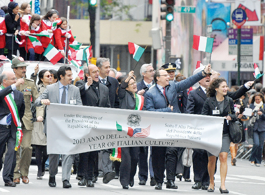 EXPLORING COLUMBUS—Marchers share their devotion to Christopher Columbus at the parade in Manhattan Oct. 8.