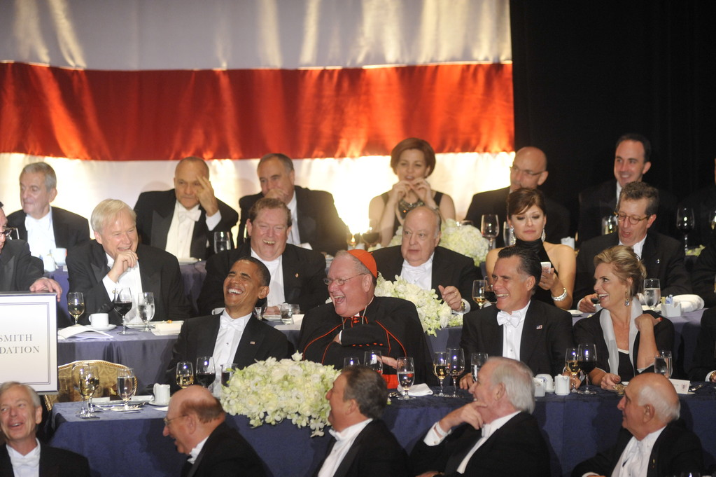 LAUGHS ALL AROUND—Good-natured humor was the main course of the evening as President Obama and the Republican candidate, Gov. Mitt Romney, join Cardinal Dolan at the 67th annual Al Smith Dinner at the Waldorf-Astoria Hotel Oct. 18.