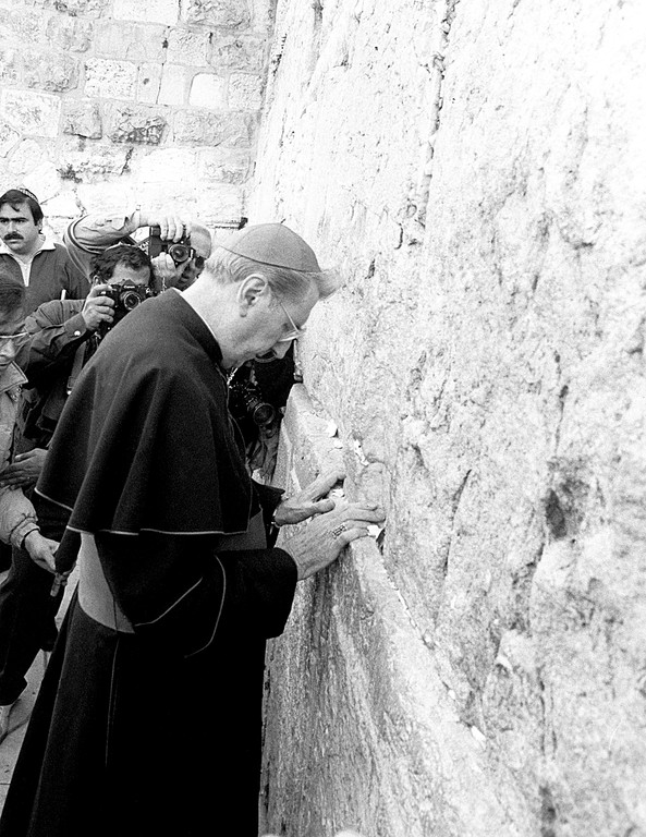 MAN OF FAITH—Cardinal O'Connor prays for peace in the Middle East at the Western Wall in Jerusalem during a goodwill journey in December 1986 and January 1987.