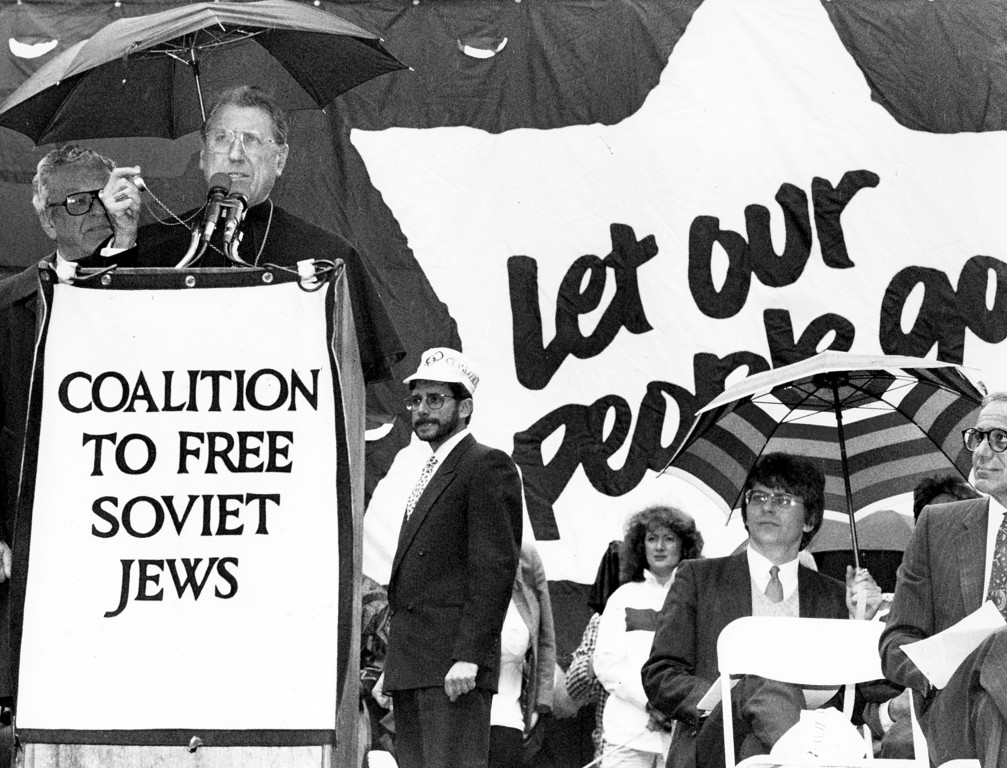 "FRIENDSHIP AND SUPPORT—The cardinal was a true friend and supporter of the Jewish people, as evidenced by this photo from a 1987 rally on behalf of Soviets Jews at which he said in part, ""I am proud to be this day, with you, a Jew."""