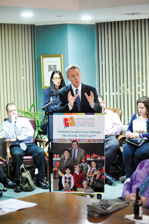 Dr. Timothy McNiff, superintendent of schools for the archdiocese, addresses select educators at the New York Catholic Center in Manhattan Feb. 23. He asked them to consider discerning a future role as a Catholic school principal.