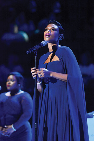 "Recording artist Jennifer Hudson, who sang ""Hallelujah"" at Madison Square Garden for 20,000 people attending the Papal Mass."