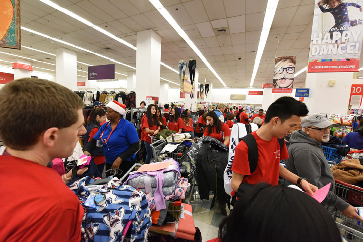 Volunteers crowd the checkout counters.