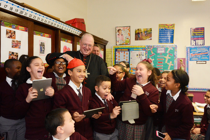 Cardinal Timothy M. Dolan visited Our Lady of Refuge in the Bronx on Feb. 17 to celebrate Mass with the students, followed by a tour of the school.