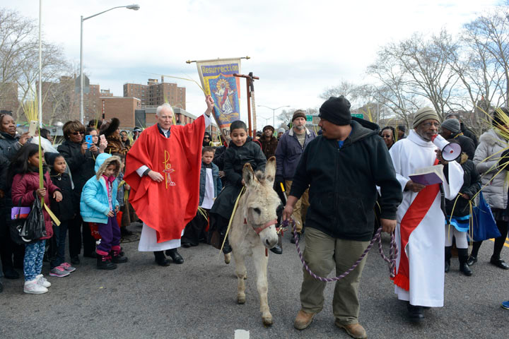Members of St. Charles Borromeo and the Chapel of the Resurrection hold up palms on Palm Sunday along with congregants from Bethany Baptist and St. Matthew Baptist churches. A procession on the streets of Harlem preceded a morning Mass on Palm Sunday at Resurrection offered by Father Thomas Fenlon, seen in the photo  wearing red. With him is Deacon Kenneth Radcliffe, wearing a white robe with red sash, at right. Riding the donkey is 7-year-old Kenneth Joseph Parker. In the Gospel narratives, Jesus rides a donkey into Jerusalem symbolizing his humility and peacefulness.